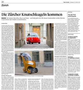 Die Zürcher Knutschkugeln kommen - BICAR im Tagesanzeiger