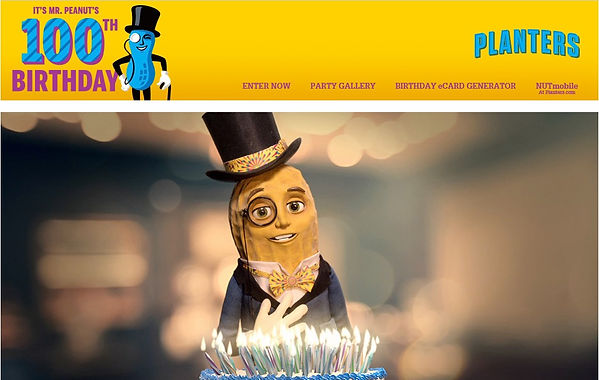 Planters official website launches Mr. peanuts 100th birthday