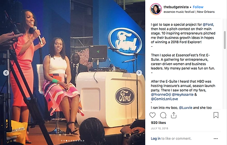 Tiffany Aliche offical instagram photo at the Ford Essence Fest