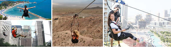 Collage of people trying out ziplining