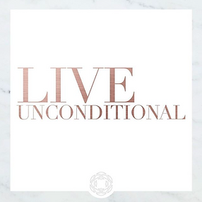 "Pink text that says ""Live Unconditional"" at a white background"