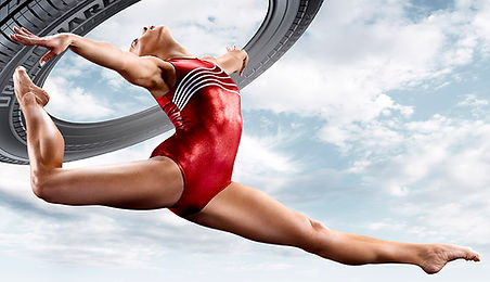 Image of an athlete posing for a bridgestone athletic promotion