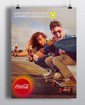 Two guys riding a skateboard for coca-colas summer campaign