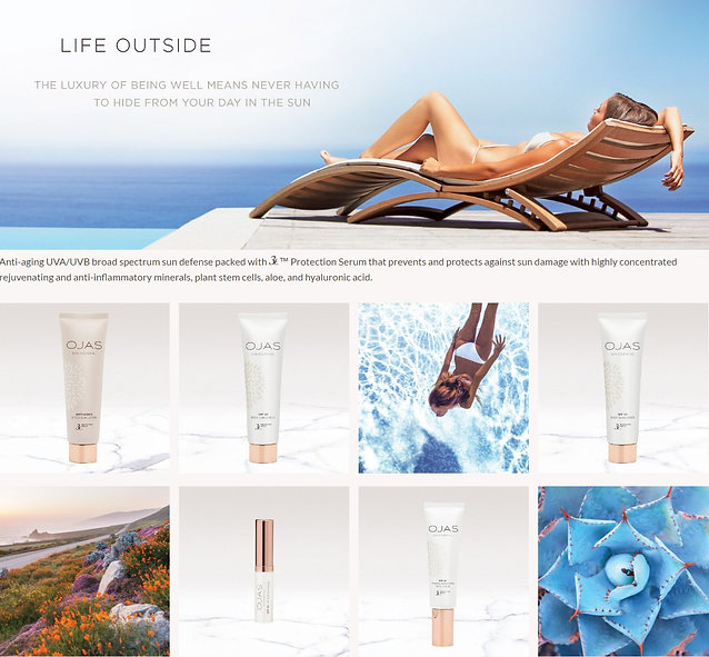 OJAS collection of beauty products and models
