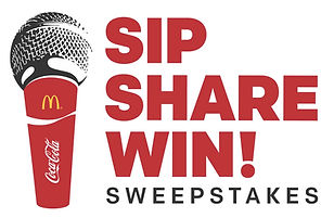 Sweepstakes design for the Sip Share Win contest