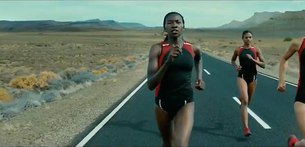 Three athletes running for bridgestone ad.