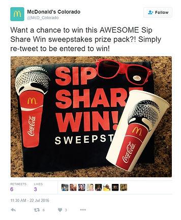 Mcdonalds sharing a tweet of their Share Sip Win bundle
