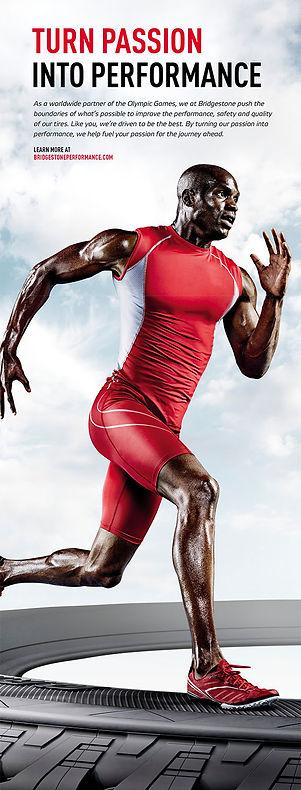 poster of a running athlete for bridgestones athletic campaign
