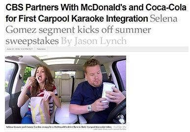 James Corden Carpool Karaoke collaborates with Coke and Mcdonalds