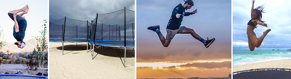 Collage of people jumping in a trampoline