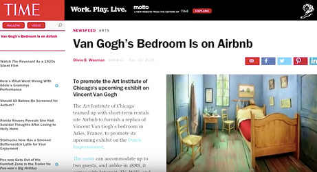 Time official website featuring Van Gogh Airbnb room