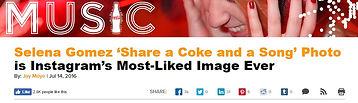 Selena Gomez headlines the coca-cola music website