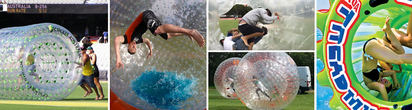 Collage of people using inflatable roller wheels and balls