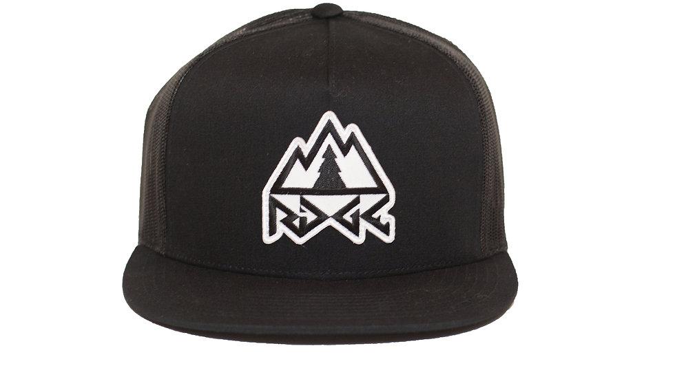 Ridge Logo Trucker Hat - Black/Black