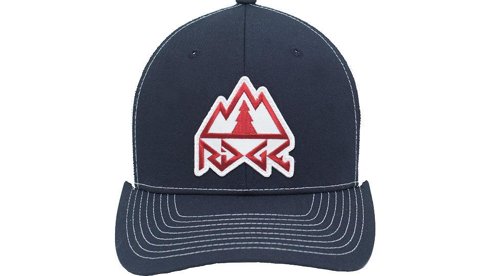 Recycled Ridge Logo Trucker Hat - Navy Blue/White