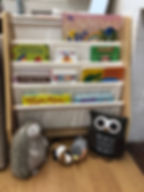 Bookshelves in the Lily Toddler classroom at Little Ones Montessori School in Schenectady, New York