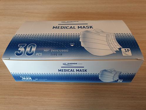 Masque Chirurgical 3 PLIS TYPE 2, Boite De 30 Pièces