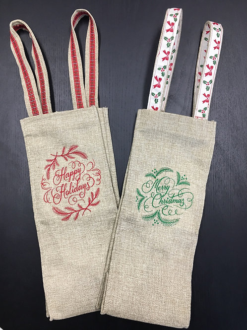 Embroidered Christmas Wine Totes