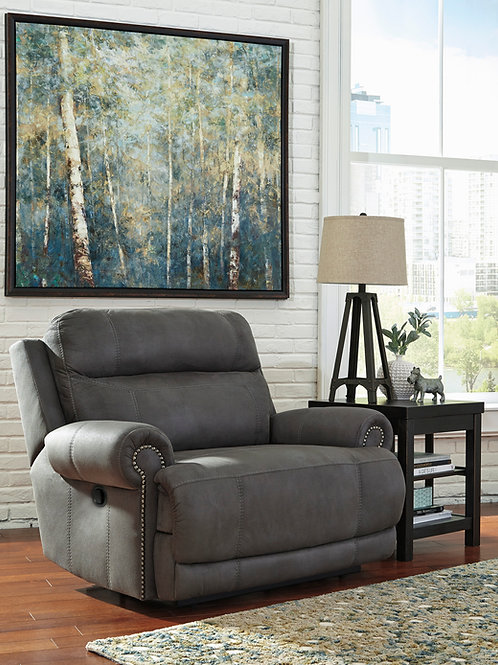 Austere Slate Wide-Seat Wall Recliner