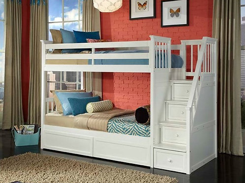 Schoolhouse White T/T Staircase Bunk Bed
