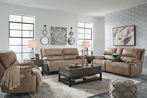 Ricmen Putty Leather Power Reclining Sofa & Loveseat