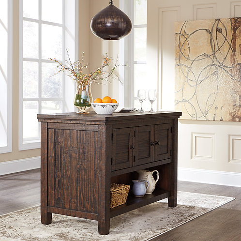 Trudell Solid Pine Dining Counter Table/Island wStorage
