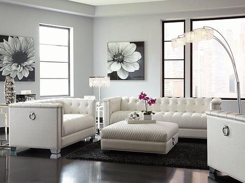 Chaviano Low-Profile Pearl White Tufted Sofa