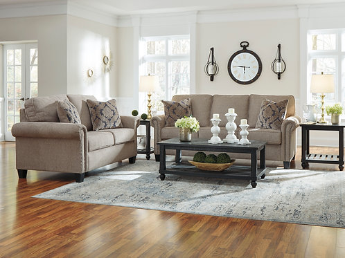 Basiley Pewter Sofa & Loveseat