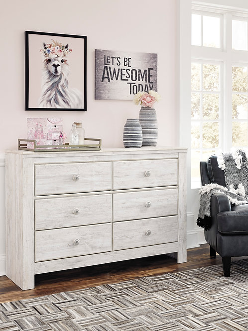 Paxberry Youth White Washed Dresser