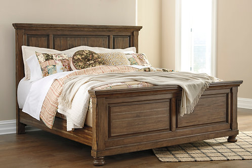 Flynnter Medium Brown Panel Bed