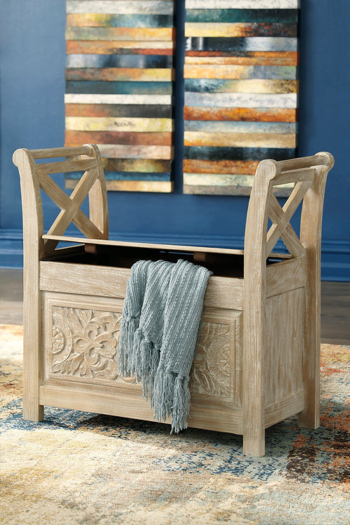 """Fossil Ridge Whitewashed 30"""" Accent Bench"""