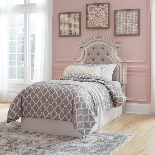 Realyn Antique White Twin Upholstered Headboard