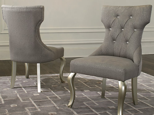 Coralayne Silver Upholstered Dining Chairs