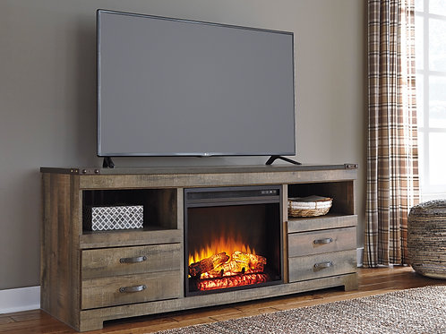 Trinell Rustic Brown 64 in TV Stand with Fireplace