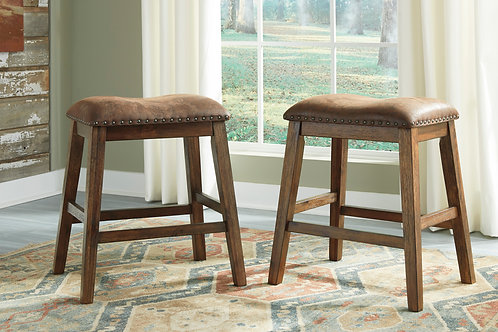 Chaleny Warm Brown Upholstered Stools