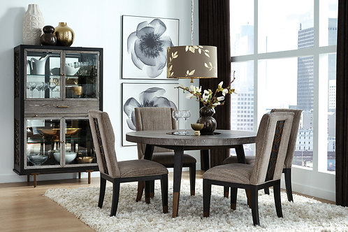 Ryker Nocturn Black & Gray Round Table & 4 Chairs