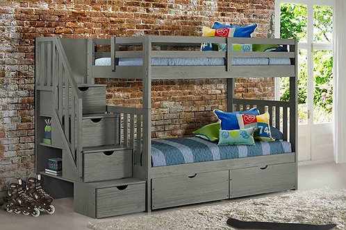 Cambridge Gray T/T Staircase Bunk Bed