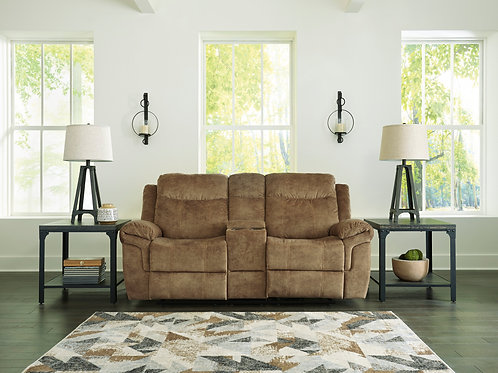 Huddle-Up Nutmeg Reclining Loveseat with Console