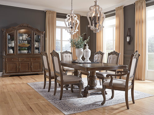Charmond Brown Dining Table with 4 Side Chairs & 2 Arm Chairs