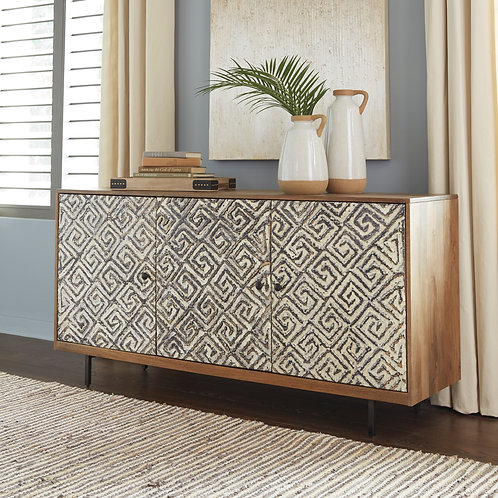 Kerrings Brown Black & White Accent Cabinet