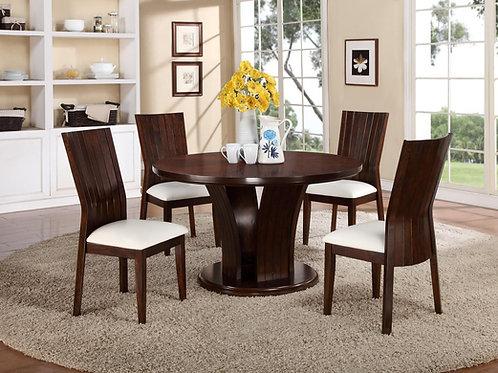 Daria Espresso Table & 4 White Chairs