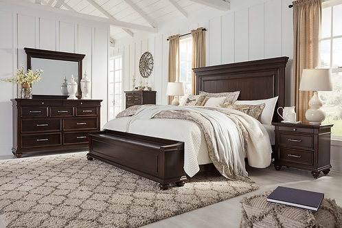 Brynhurst Walnut Queen Panel Wood Storage Bedroom Set