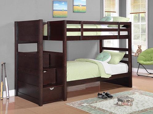Elliott Cappuccino Twin-over-Twin Bunk Bed