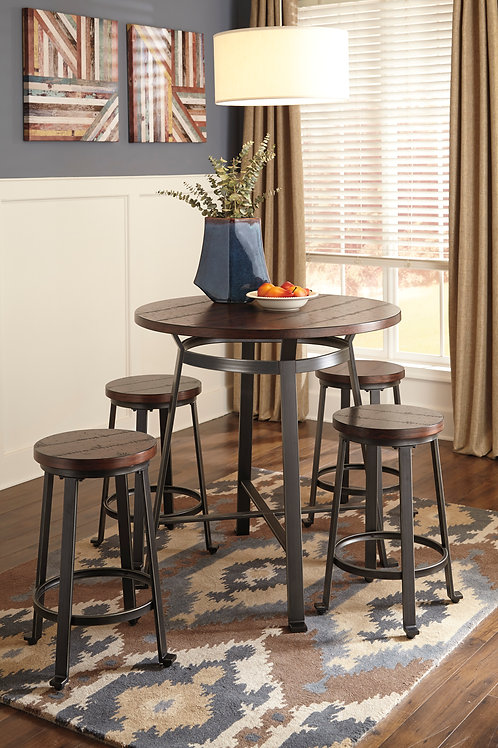 Challiman Counter Height Table and 4 Stools