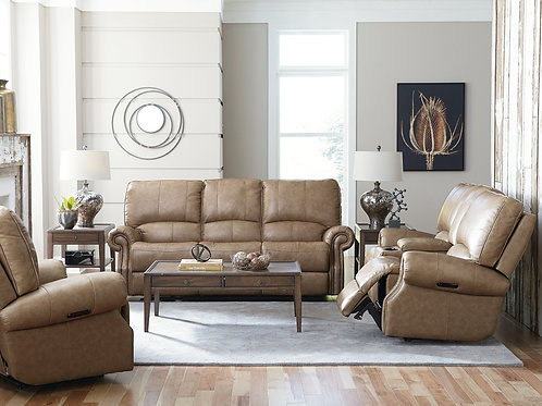 Prescott Wheat TOP Grain Leather Full Power Reclining Sofa OR Loveseat