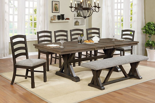 Armina Dining Table, 6 Chairs, & Bench