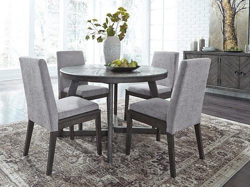 Besteneer Dark Gray Round Table & 4 Chairs