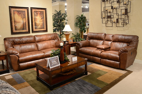 Nolan Chestnut Power Reclining Wide Sofa & Loveseat w/Console