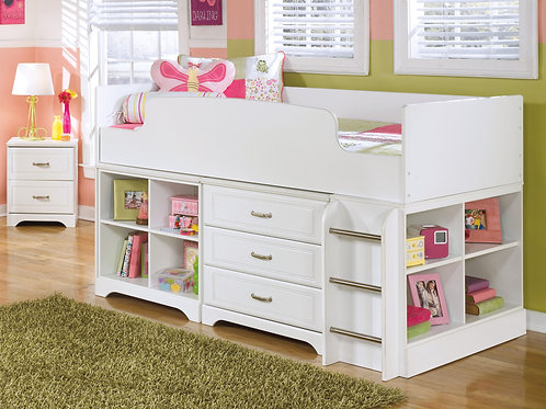 Lulu White Storage Youth Loft Bed