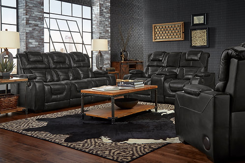 Manhattan Midnight Italian Leather Reclining Set